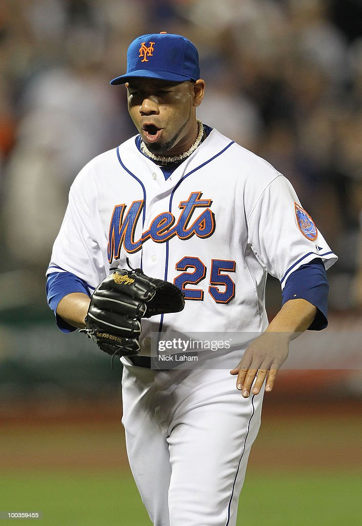 Pedro Feliciano #25 of the New York Mets reacts after making the final out with bases loaded in the seventh inning against the New York Yankees on May 23, 2010 at Citi Field in the Flushing neighborhood of the Queens borough of New York City.