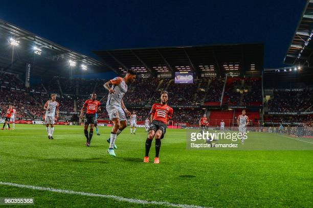 Pedro Felipe Teodosio Mendes of Montpellier and Rami Bensebaini of Rennes during the Ligue 1 match between Stade Rennes and Montpellier Herault SC at...