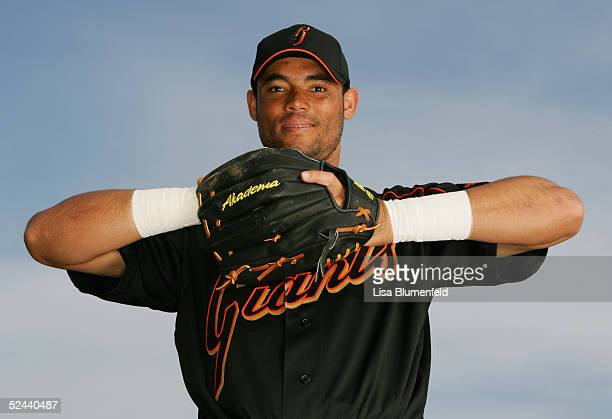 Pedro Feliz of the San Francisco Giants poses for a portrait during the San Francisco Giants Photo Day at Scottsdale Stadium on March 2, 2005 in...