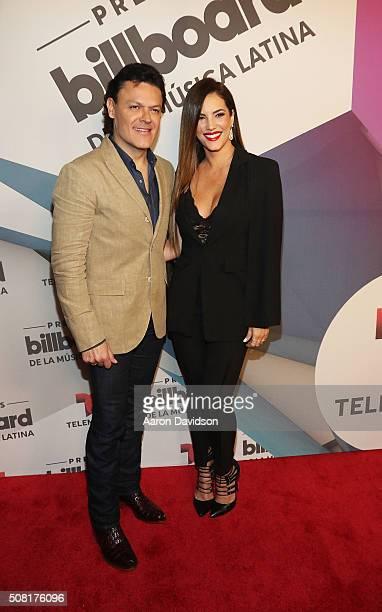 Pedro Fernandez and Gaby Espino attend 2016 Billboard Latin Music Awards press conferece at Gibson Guitar Miami Showroom on February 3 2016 in Miami...