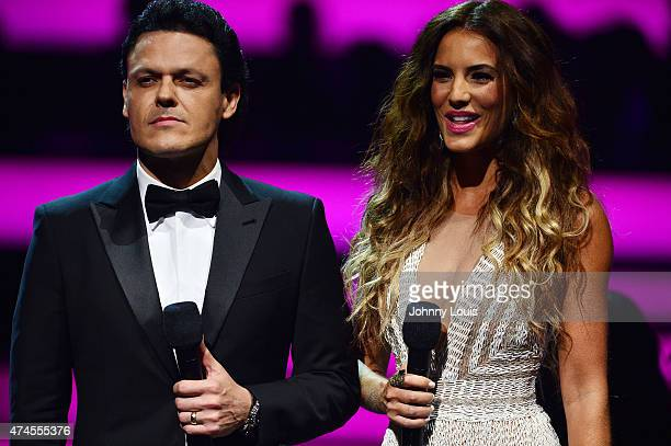 Pedro Fernandez and Gaby Espino onstage at the 2015 Billboard Latin Music Awards presented by State Farm on Telemundo at Bank United Center on April...