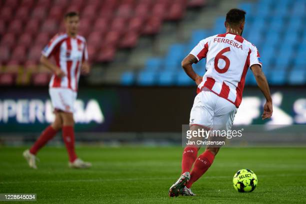 Pedro Ferreira of AaB Aalborg in action without sponsor names on the back of the jersey during the Danish 3F Superliga match between AaB Aalborg and...