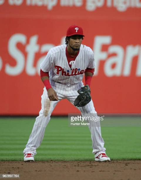 Pedro Florimon of the Philadelphia Phillies during a game against the San Francisco Giants at Citizens Bank Park on May 9 2018 in Philadelphia...