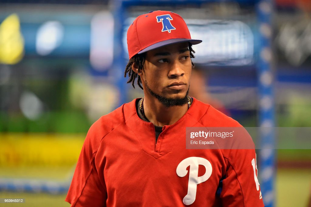 Pedro Florimon #18 of the Philadelphia Phillies looks on during batting practice before the start of the game against the Miami Marlins at Marlins Park on May 2, 2018 in Miami, Florida.