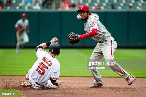 Pedro Florimon of the Philadelphia Phillies retires Chance Sisco of the Baltimore Orioles during the eighth inning at Oriole Park at Camden Yards on...
