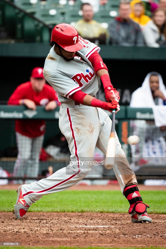 Pedro Florimon #18 of the Philadelphia Phillies singles during the eighth inning against the Baltimore Orioles at Oriole Park at Camden Yards on May 16, 2018 in Baltimore, Maryland.