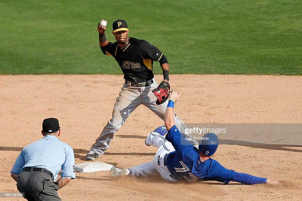 Pedro Florimon #17 of the Pittsburgh Pirates attempts a double play over Mitch Nay #73 of the Toronto Blue Jays during the game at Florida Auto Exchange Stadium on March 3, 2015 in Dunedin, Florida. The Pirates defeated the Blue Jays 8-7.