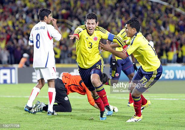 Pedro Franco from Colombia celebrate his goal during a match as part of the FIFA U20 World Cup at the Nemesio Camacho El Campin Stadium on August 09...