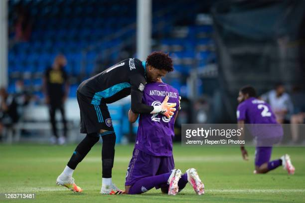 Pedro Gallese and Antonio Carlos of Orlando City SC before the game between Montreal Impact and Orlando City SC at ESPN Wide World of Sports on July...