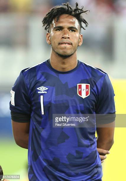 Pedro Gallese goalkeeper of Peru looks on before a match between Peru and Venezuela as part of FIFA 2018 World Cup Qualifiers at Nacional Stadium on...