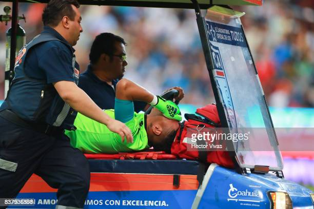 Pedro Gallese goalkeeper of Veracruz reacts after being injured during the sixth round match between Pachuca and Veracruz as part of the Torneo...