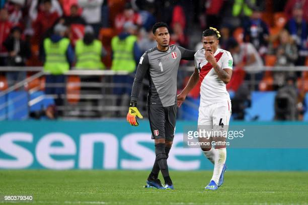 Pedro Gallese of Peru and Anderson Santamaria of Peru look dejected following their sides defeat in the 2018 FIFA World Cup Russia group C match...