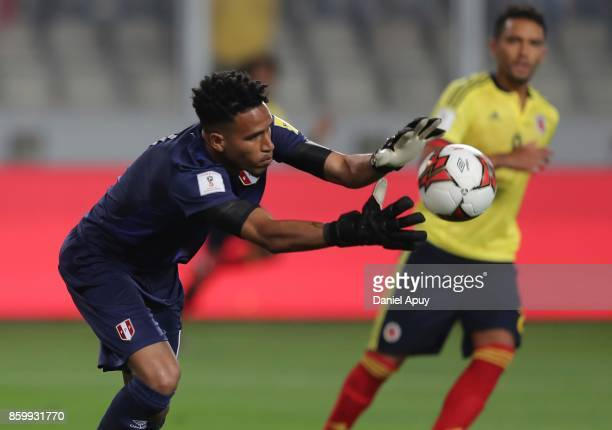 Pedro Gallese of Peru catches the ball during a match between Peru and Colombia as part of FIFA 2018 World Cup Qualifiers at Monumental Stadium on...