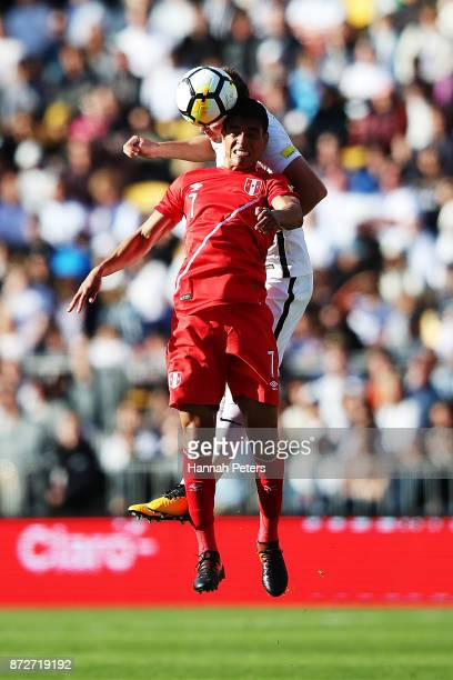Pedro Gallese of Peru heads the ball during the 2018 FIFA World Cup Qualifier match between the New Zealand All Whites and Peru at Westpac Stadium on...