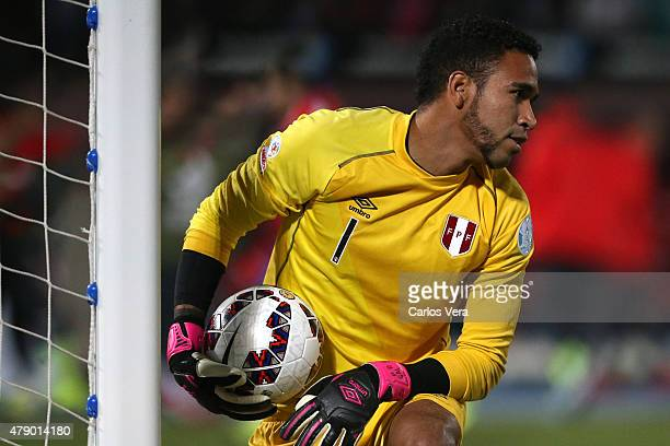 Pedro Gallese of Peru holds the ball during the 2015 Copa America Chile Semi Final match between Chile and Peru at Nacional Stadium on June 29 2015...