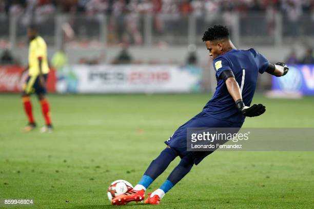 Pedro Gallese of Peru kicks the ball during match between Peru and Colombia as part of FIFA 2018 World Cup Qualifiers at National Stadium on October...