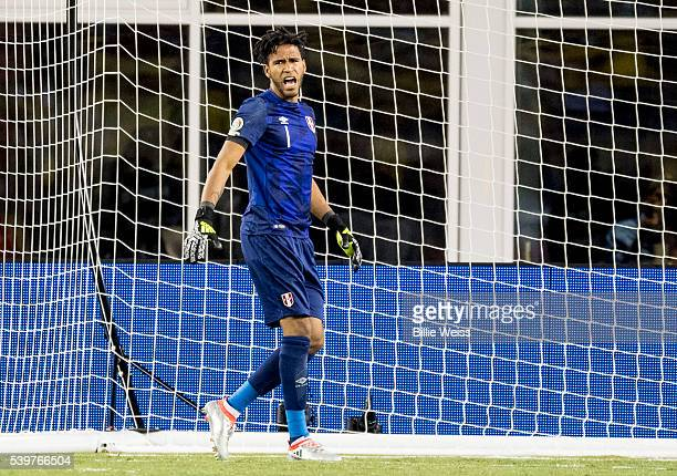 Pedro Gallese of Peru reacts after making a save during a group B match between Brazil and Peru at Gillette Stadium as part of Copa America...