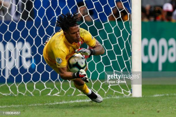Pedro Gallese of Peru saves the first penalty of Luis Suarez of Uruguay during a shootout after the Copa America Brazil 2019 quarterfinal match...