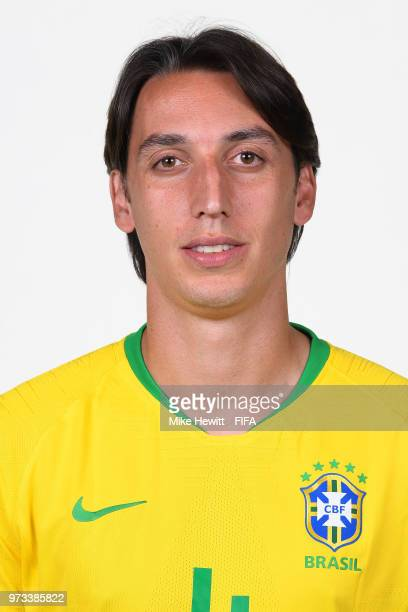 Pedro Geromel of Brazil poses for a portrait during the official FIFA World Cup 2018 portrait session at the Brazil Team Camp on June 12 2018 in...