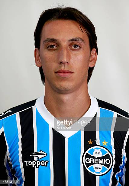 Pedro Geromel of Gremio FootBall Porto Alegrense poses during a portrait session on August 14 2014 in Porto AlegreBrazil
