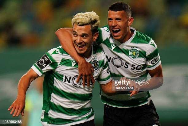 Pedro Goncalves of Sporting CP celebrates with teammate Matheus Nunes of Sporting CP after scoring a goal during the Liga NOS match between Sporting...