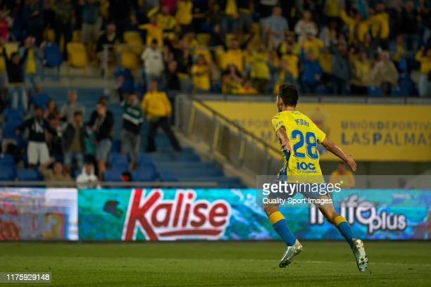 Pedro Gonzalez Lopez 'Pedri' of Las Palmas celebrates his first goal team at Estadio Gran Canaria on September 19 2019 in Las Palmas Spain