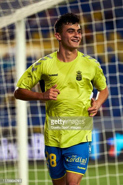 Pedro Gonzalez Lopez 'Pedri' of Las Palmas looks on prior the match between Las Palmas and Sporting at Estadio Gran Canaria on September 19 2019 in...