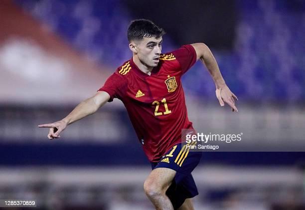 Pedro Gonzalez Lopez, `Pedri´ of Spain U21 reacts during the UEFA Euro Under 21 Qualifier match between Spain U21 and Faroe Islands U21 at Estadio...