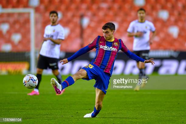 Pedro Gonzalez Pedri of FC Barcelona during the La Liga match between Valencia CF and FC Barcelona played at Mestalla Stadium on May 2, 2021 in...