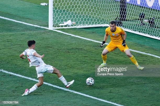 """Pedro Gonzalez """"Pedri"""" of Spain and Martin Dubravka of Slovakia in action during the UEFA Euro 2020 Championship Group E match between Slovakia and..."""
