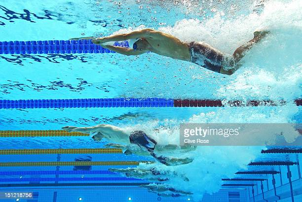 Pedro Gonzalez Valdiviezo of Venezuela and Daniel Simon of Germany compete in the Men's 100m Freestyle S12 heat 2 on day 6 of the London 2012...
