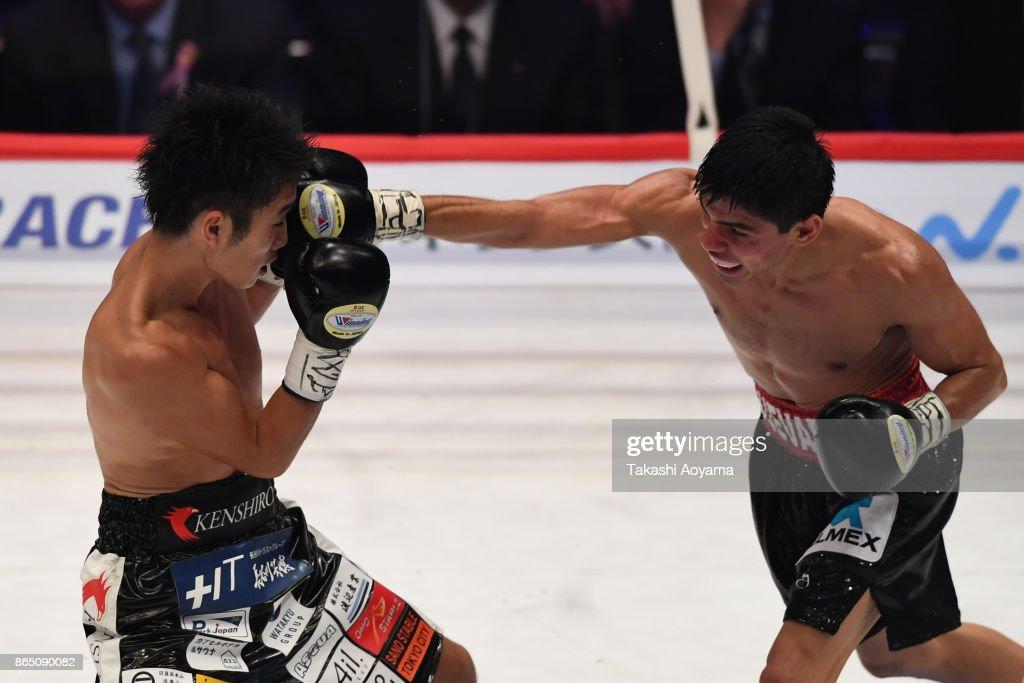 Pedro Guevara of Mexico (R) punches Kenshiro Teraji of Japan during their WBC Light Flyweight Title Bout at Ryogoku Kokugikan on October 22, 2017 in Tokyo, Japan.