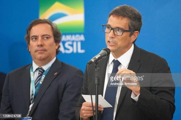 Pedro Guimarães president of the federal bank Caixa Economica Federal and Roberto Campos Neto president of the Central Bank of Brazil wath talks with...