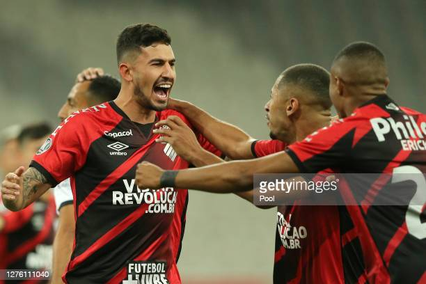 Pedro Henrique of Athletico Paranaense celebrates after scoring the opening goal of his team during a group C match of Copa CONMEBOL Libertadores...