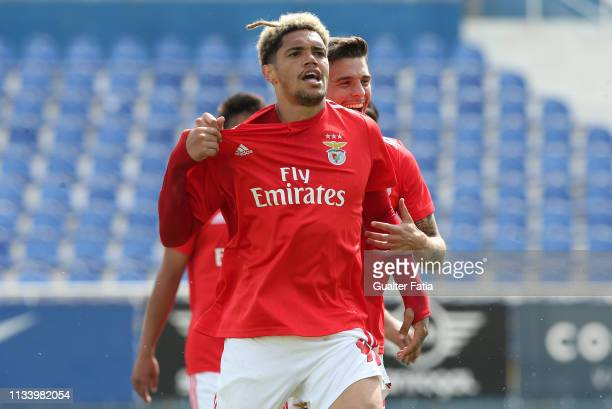 Pedro Henrique of SL Benfica B celebrates after scoring a goal during the Ledman Liga Pro match between GD Estoril Praia and SL Benfica B at Estadio...