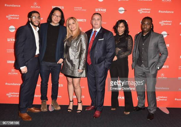 Pedro Hernandez filmmaker Stephen Maing Jessica Perez Manny Gomez Felicia Whitely and Edwin Raymond attend the 'Crime And Punishment' Premiere during...