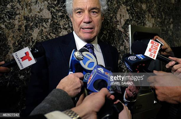 Pedro Hernandez's defense lawyer Harvey Fisbein speaks to the media at a court in New York on January 30 2015 at the lunch break of his client's...