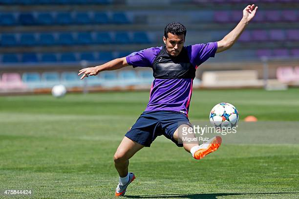 Pedro in action during the FC Barcelona training session at Ciutat Esportiva on June 4 2015 in Barcelona Spain