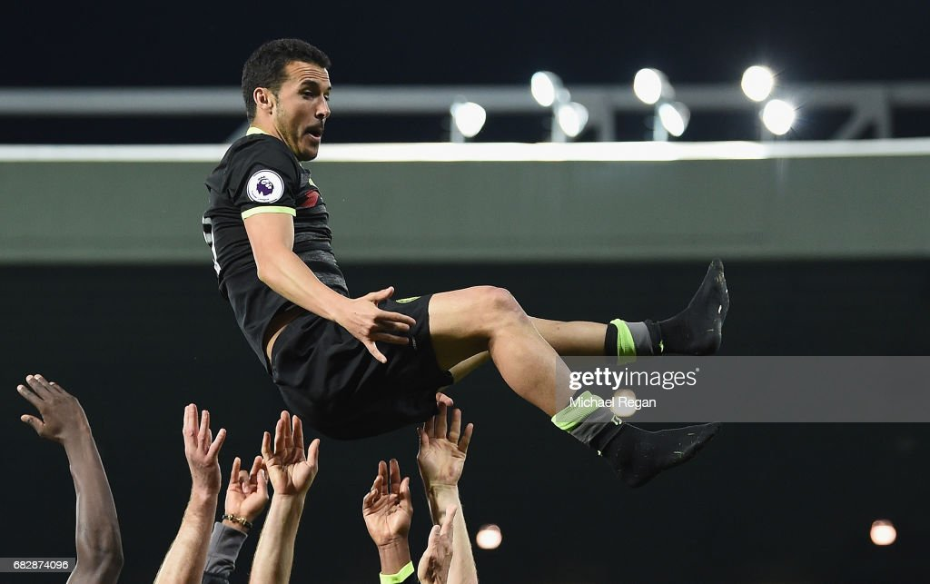 Pedro is thrown in the air by team mates as Chelsea celebrate winning the league after the Premier League match between West Bromwich Albion and Chelsea at The Hawthorns on May 12, 2017 in West Bromwich, England. Chelsea are crowned champions after a 1-0 victory against West Bromwich Albion. Restrictions