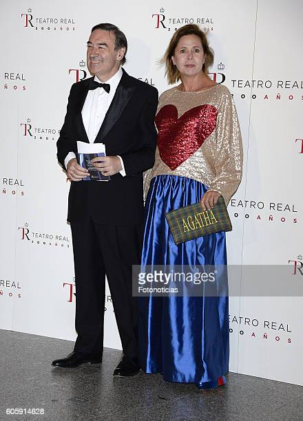 Pedro J Ramirez and Agatha Ruiz de la Prada attend the Royal Theatre opening season concert on September 15 2016 in Madrid Spain