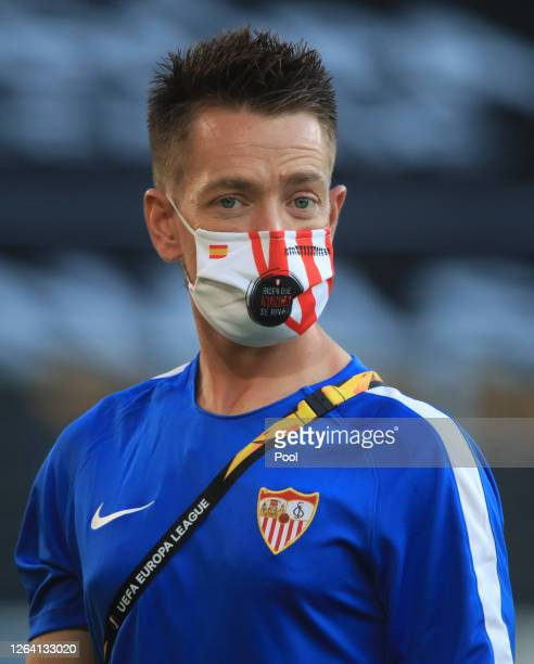 Pedro Jesus Rodríguez Bella of Sevilla wears a mask during an Sevilla FC Training Session And Press Conference at MSV Arena on August 05 2020 in...
