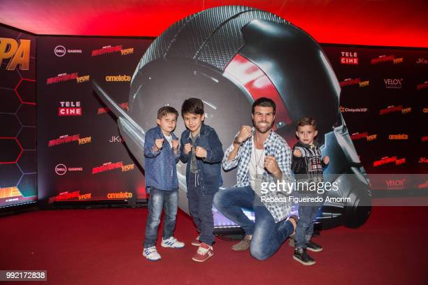 Pedro Juan Marcelo Ieie and Lucas attend the Sao Paulo Premiere of The AntMan and The Wasp at Cinépolis Shopping JK Iguatemi on July 4 2018 in São...