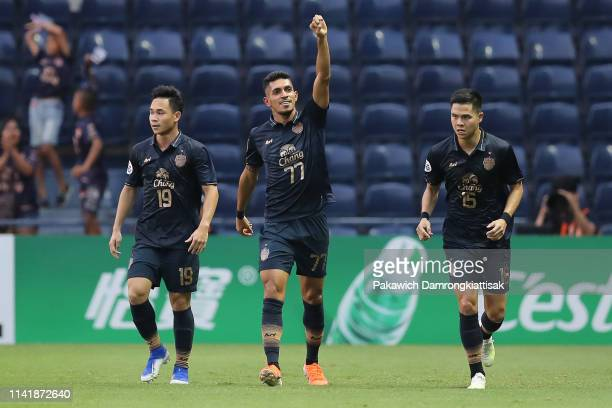 Pedro Junior of Buriram United celebrates scoring his side's goal with his teammates during the AFC Champions League Group G match between Buriram...