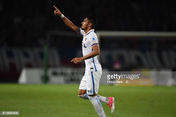 Pedro Junior of Kashima Antlers celebrates scoring his side's second goal during the JLeague J1 match between FC Tokyo and Kashima Antlers at...