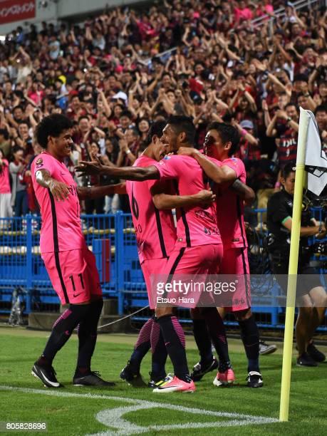 Pedro Junior of Kashima Antlers celebrates scoring his side's third goal during the JLeague J1 match between Kashiwa Reysol and Kashima Antlers at...