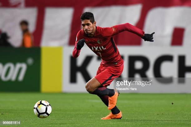 Pedro Junior of Kashima Antlers in action during the AFC Champions League Round of 16 first leg match between Kashima Antlers and Shanghai SIPG at...