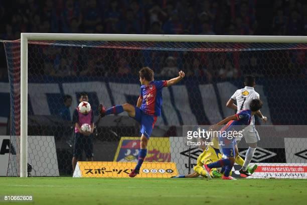 Pedro Junior of Kashima Antlers scores the opening goal during the JLeague J1 match between FC Tokyo and Kashima Antlers at Ajinomoto Stadium on July...
