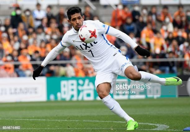 Pedro Junior of Kashima Antlers shoots at goal during the JLeague J1 match between Shimizu SPulse and Kashima Antlers at IAI Stadium Nihondaira on...
