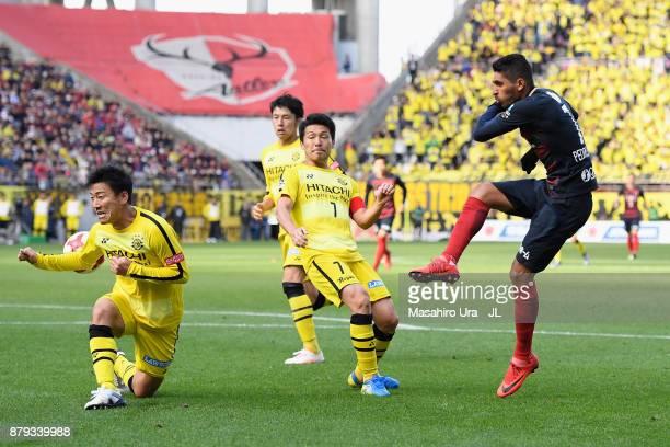 Pedro Junior of Kashima Antlers shoots at goal during the JLeague J1 match between Kashima Antlers and Kashiwa Reysol at Kashima Soccer Stadium on...