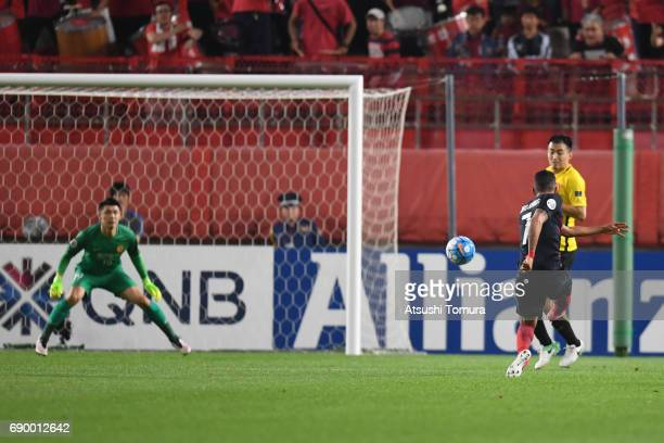 Pedro Junior of Kashima Antlers takes a shot on goal during the AFC Champions League Round of 16 match between Kashima Antlers and Guangzhou...